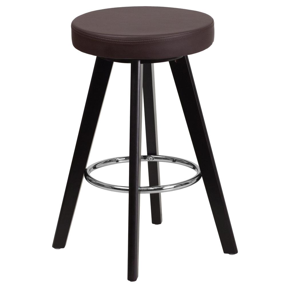 24.25 in. Brown and Cappuccino Cushioned Bar Stool