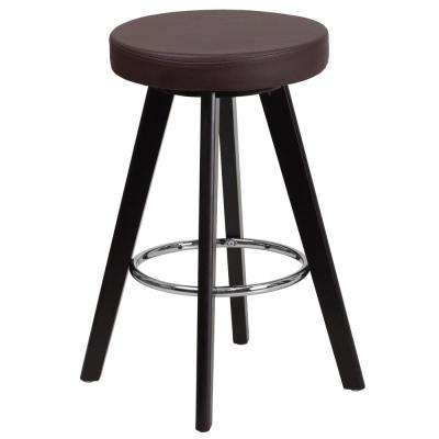 24 in. High Contemporary Cappuccino Wood Counter Height Stool with Brown Vinyl Seat