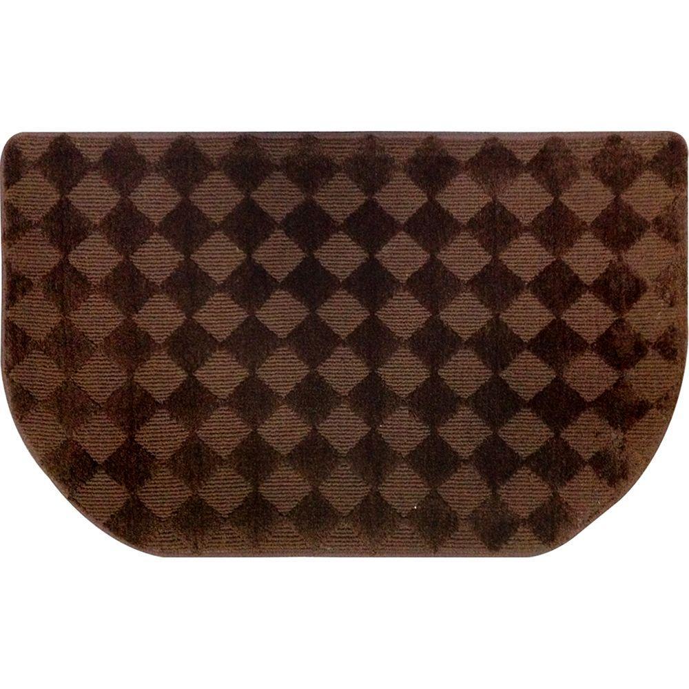 Kitchen Plush Step Slice Checkboard/Brown 19.7 in. x 31.5 in. Memory Foam Mat