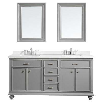 Charlotte 72 in. W x 22 in. D x 36 in. H Vanity in Grey with Quartz Vanity Top in White with White Basin and Mirror