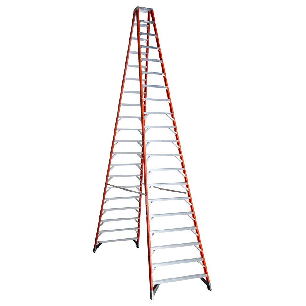 Werner 20 Ft Fiberglass Twin Step Ladder With 300 Lb