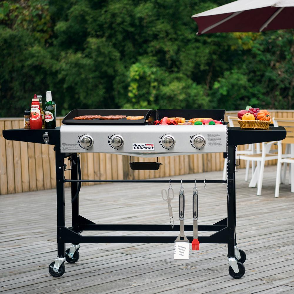 Royal Gourmet 4 Burners Portable Propane Gas Grill And Griddle