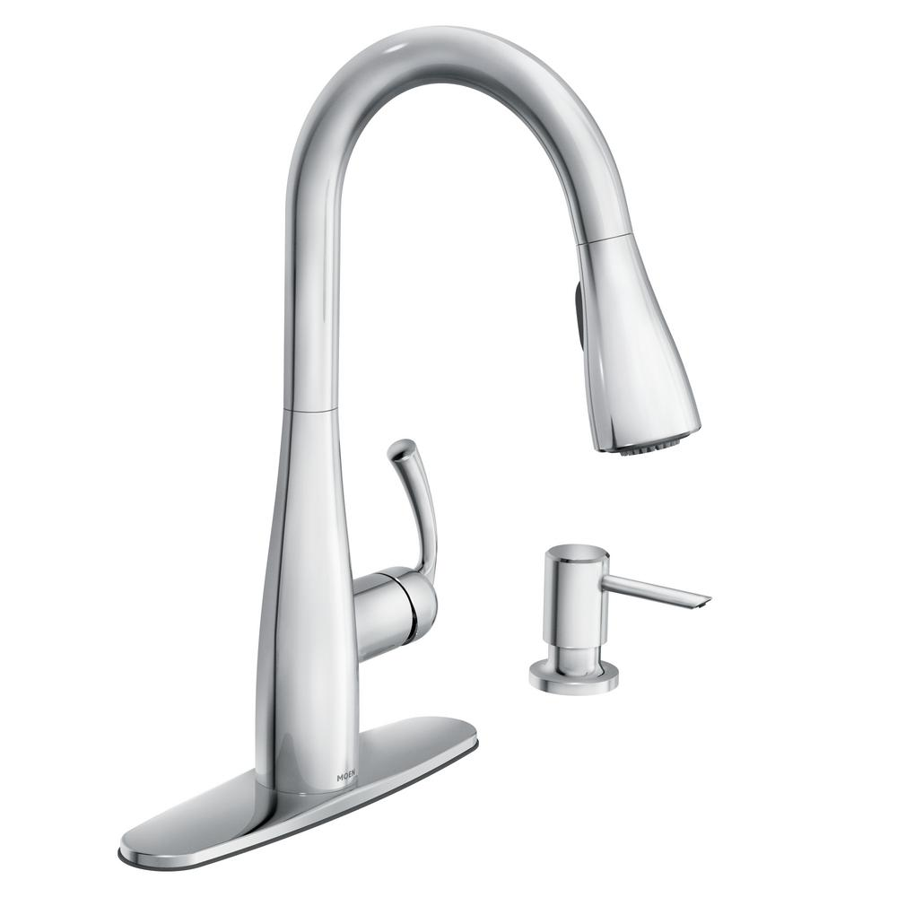 Moen Essie Single Handle Pull Down Sprayer Kitchen Faucet With Reflex And Powerclean In Chrome