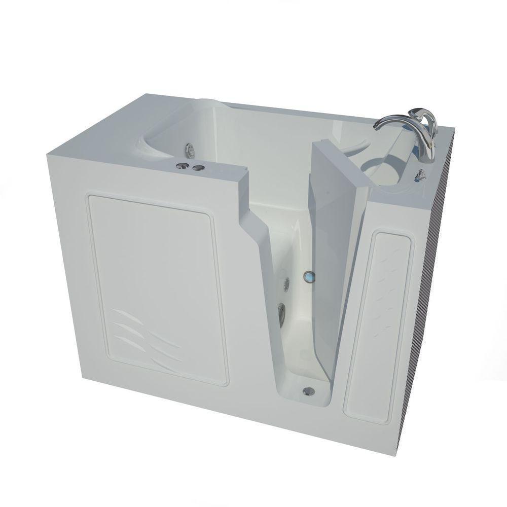 Nova Heated 4.4 ft. Walk-In Whirlpool Bathtub in White with Chrome Trim