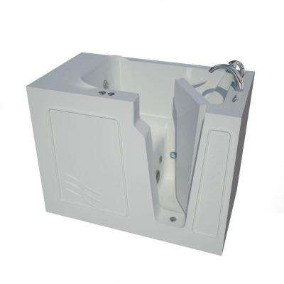 HD Series 52 in. Right Drain Quick Fill Walk-In Whirlpool Bath Tub with Powered Fast Drain in White