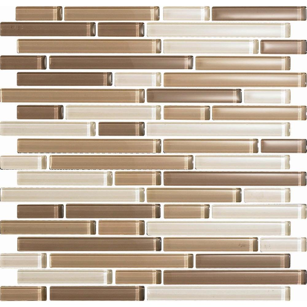 Epoch Architectural Surfaces Color Blends Arena-1605 S Gloss Strips Mosaic Glass 12 in. x 12 in. Mesh Mounted Tile (5 Sq. Ft./Case)-DISCONTINUED