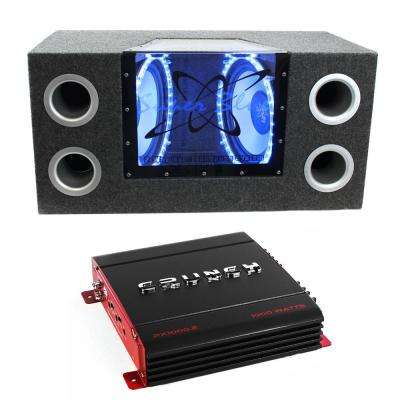 10 in. 1000-Watt Car Subs Box Subwoofers Bandpass Plus 1000-Watt 2-Channel Amp