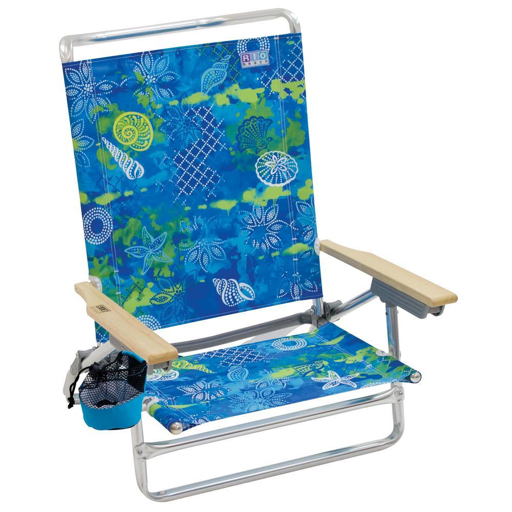Classic 5-Position Aluminum Lay-Flat Lounge Beach Chair with Baja Boho Shells