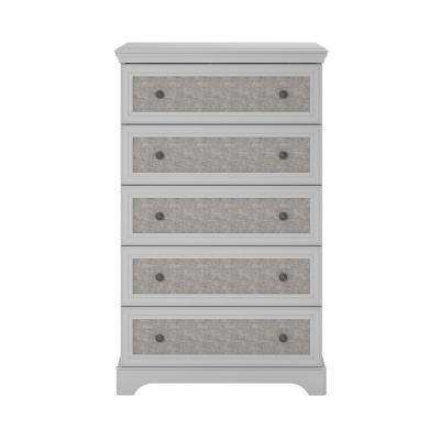 Hillside 5-Drawer Dove Gray Dresser with Fabric Inserts