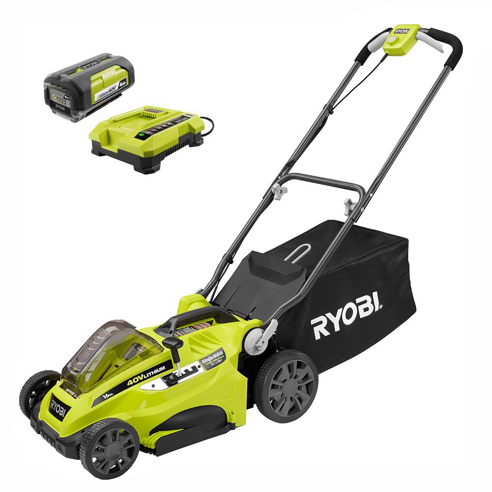 RYOBI 16 in. 40-Volt Lithium-Ion Cordless Battery Walk Behind Push Lawn Mower - 4.0 Ah Battery/Charger Included