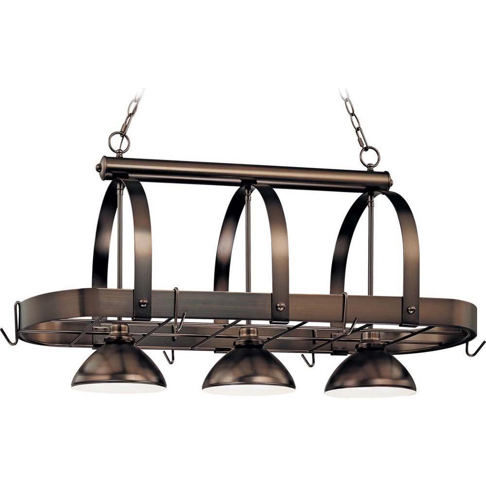 3-Light Antique Bronze Pot Rack Pendant