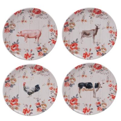 Farmhouse 4-Piece Country/Cottage Multi-Colored Ceramic 10.75 in. Dinner Plate Set (Service for 4)