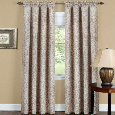 Blackout Sutton Tan Polyester Blackout Curtain Panel 52 in. W x 63 in. L