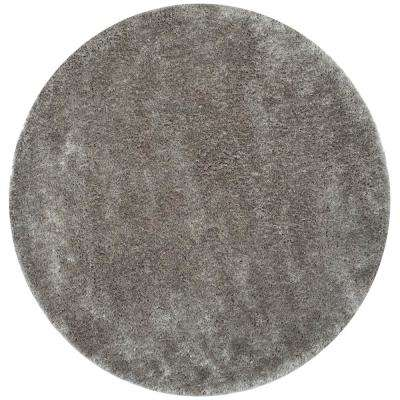 South Beach Shag Silver 6 ft. x 6 ft. Round Area Rug
