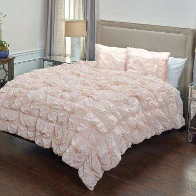 Pink Solid Rouching Pattern 3-Piece Queen Bed Set