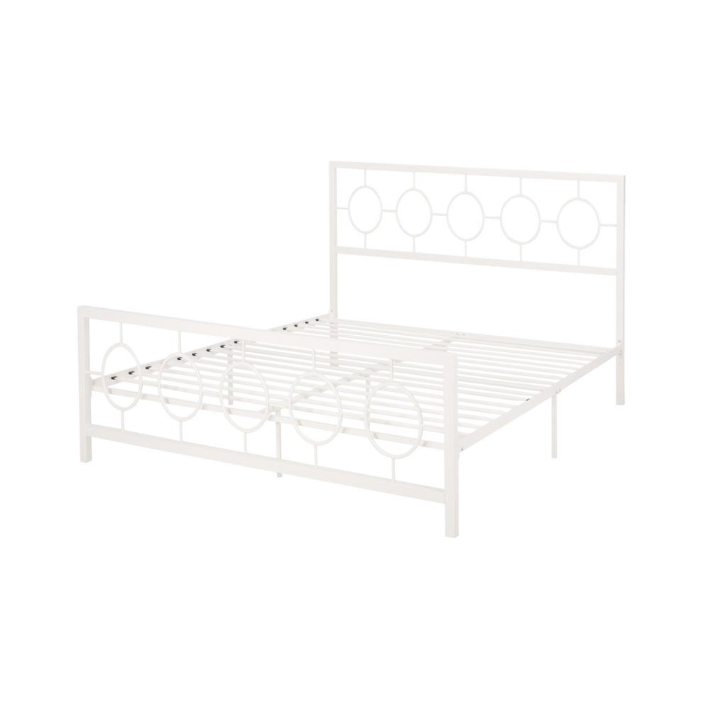 Francoise  White Metal Slatted King Bed Frame