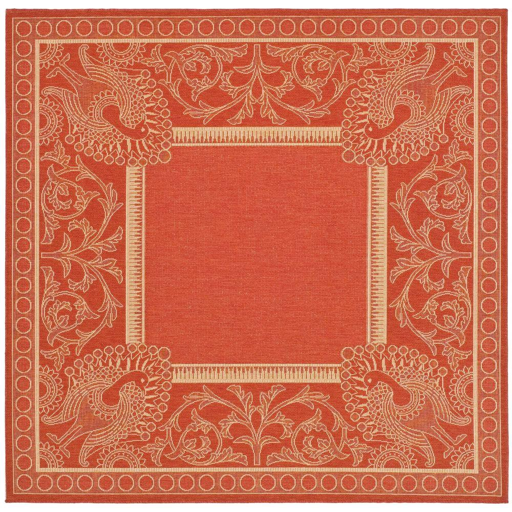 Safavieh Courtyard Red/Natural 7 ft. 10 in. x 7 ft. 10 in. Indoor/Outdoor Square Area Rug
