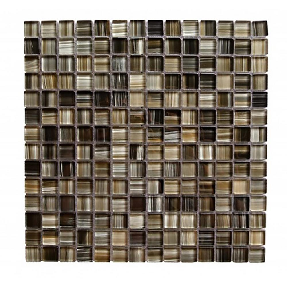 Handicraft II Brown Mix 12 in. x 12 in. Glass Mosaic