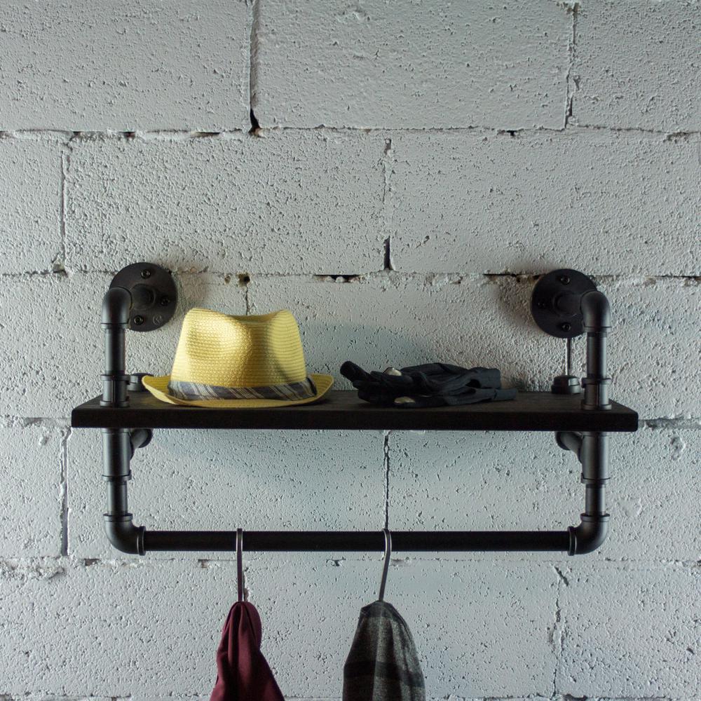 Ann Harbor Industrial 27 in. Black Wall Display Pipe Shelf Rack Multipurpose-Metal with Reclaimed Wood