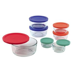 Simply Store 14-Piece Round Glass Storage Set with Assorted Colored Lids