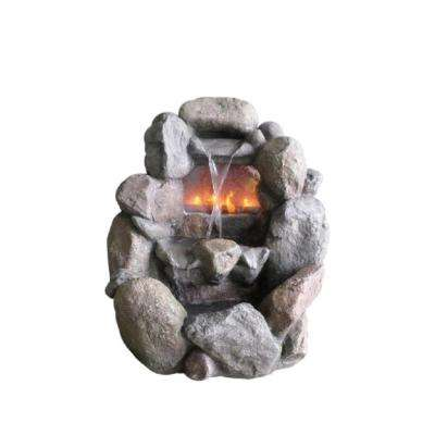 28 in. Stone Gray Faux Rock Fireplace Waterfall Water Fountain