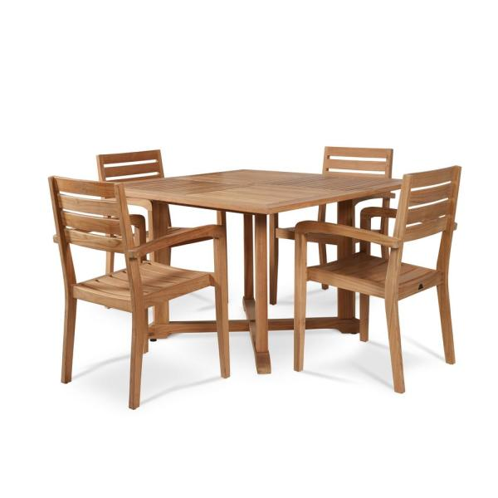 Hiteak Furniture Venice 5 Piece 47 In Teak Square Outdoor Dining Table Set Hls Ve The Home Depot