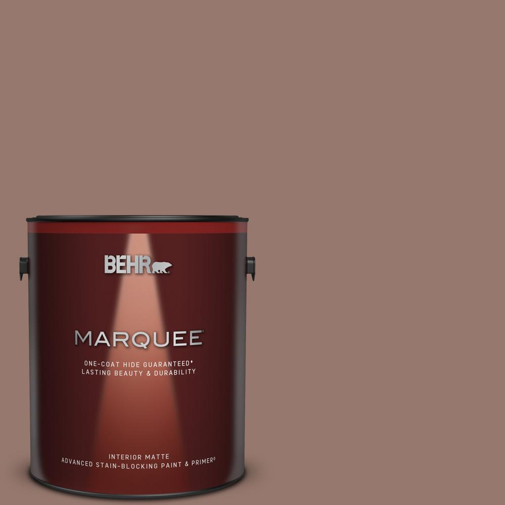 Behr Marquee 1 Gal N160 5 Chocolate Delight One Coat Hide Matte Interior Paint And Primer In One 145401 The Home Depot