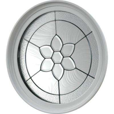 24.5 in. x 24.5 in. Round Geometric Vinyl Window in Platinum Design, White