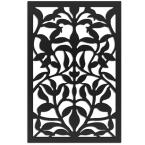 Olive Branch 32 in. x 4 ft. Black Vinyl Decorative Screen Panel