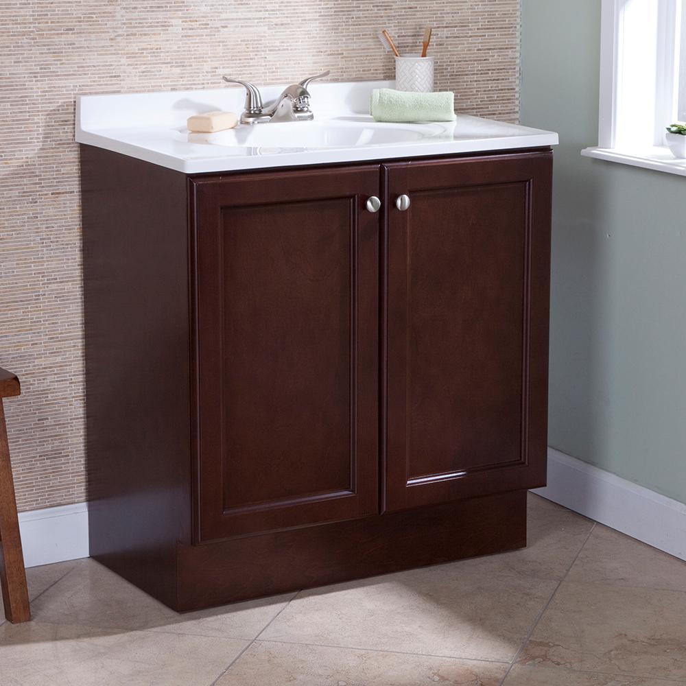 Vanity Pro All-In-One 31 in. W Bathroom Vanity in Chestnut with Cultured Marble Vanity Top in White