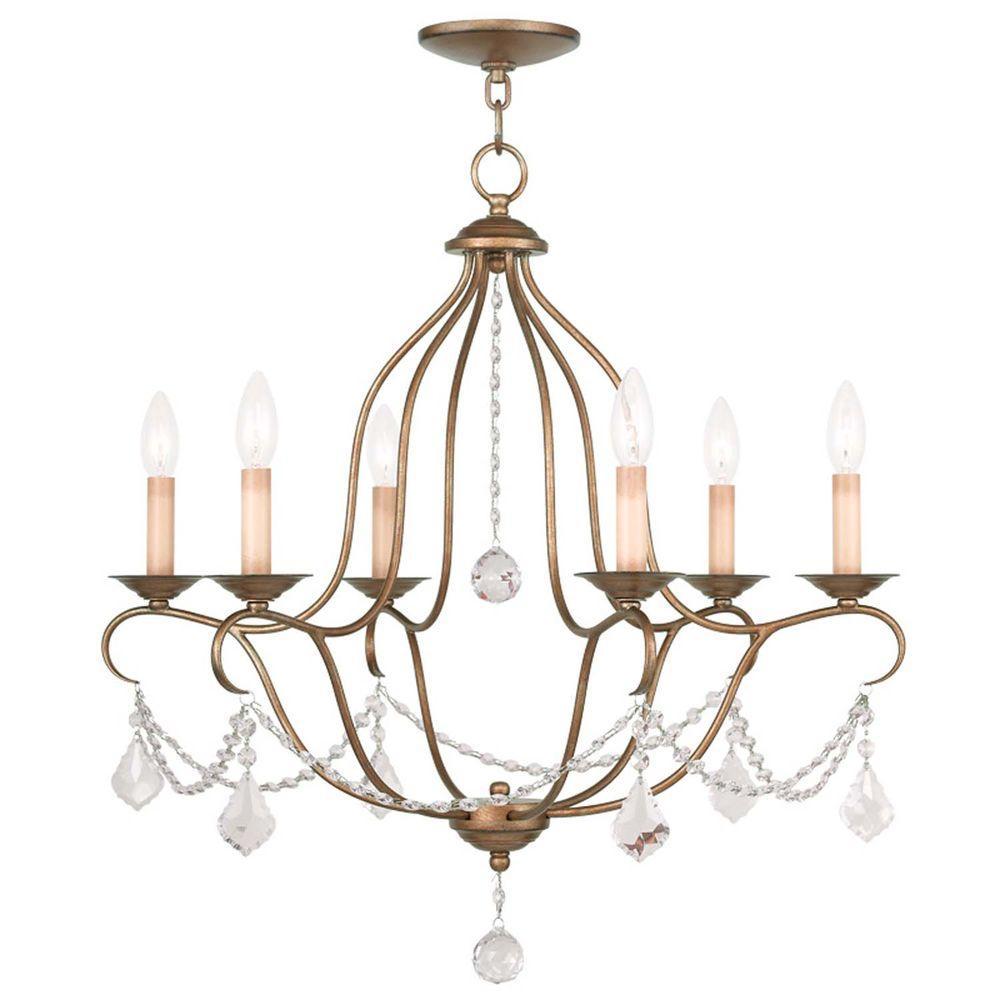 Filament Design Providence 6-Light Antique Gold Leaf Incandescent Ceiling Chandelier