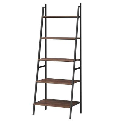 71 in. Polar Brown Wood 5-Shelf Leaning Bookcase with Shelves