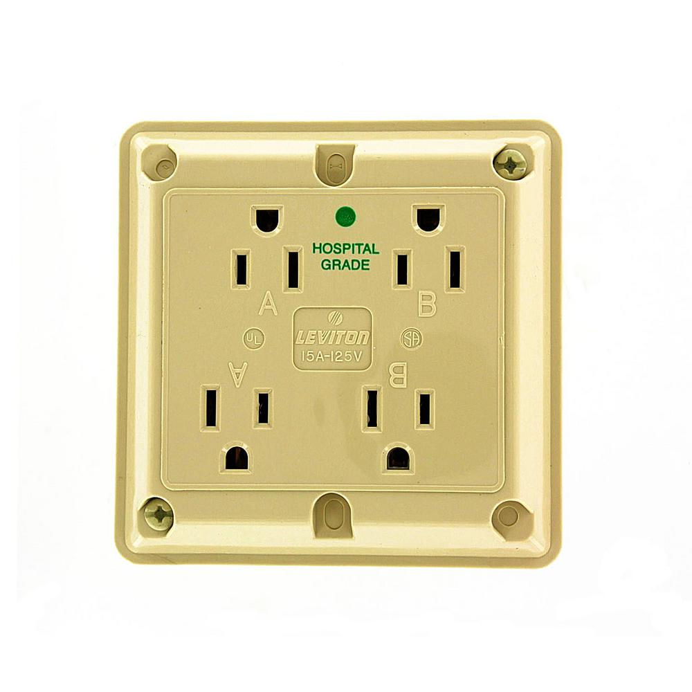 15 Amp Hospital Grade Extra Heavy Duty 4-in-1 Grounding Outlet, Ivory