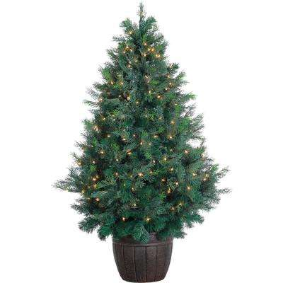 5 ft. Pre-Lit Northern Cedar Artificial Christmas Tree with 300 Clear Smart String Lights and EZ Connect