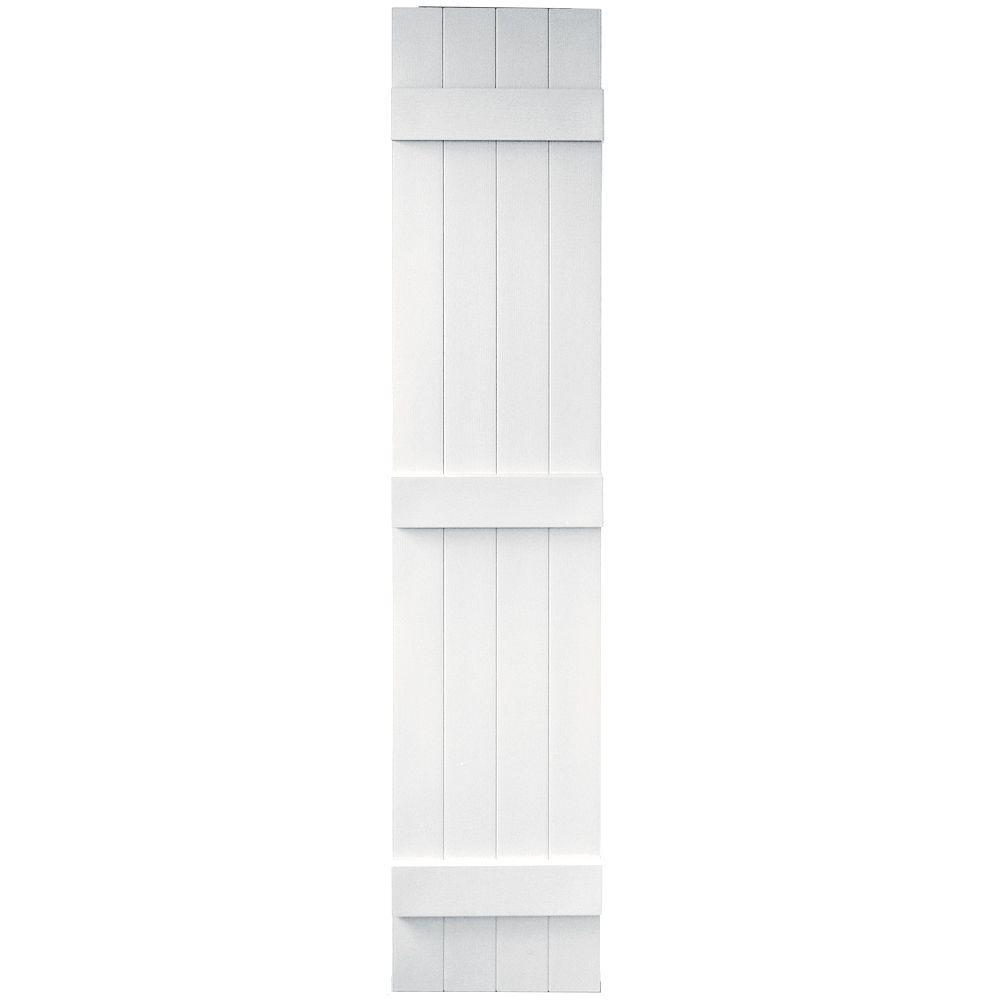 Builders Edge 14 in. x 67 in. Board-N-Batten Shutters Pair, 4 Boards Joined #117 Bright White