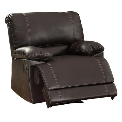 38.5 in. H Dark Brown Leather Reclining Chair with Padded Armrest