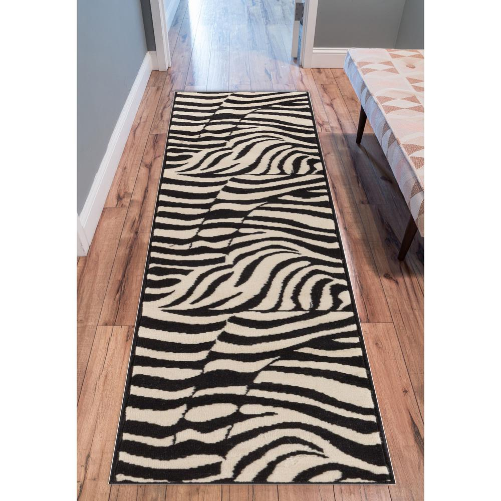 Well Woven Miami Zebra Animal Print Stripe Black 2 Ft X 7 Runner