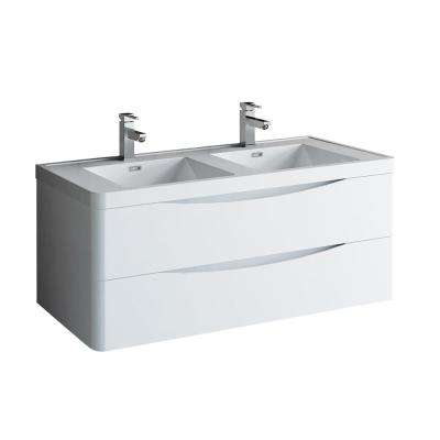 Tuscany 48 in. Modern Double Wall Hung Vanity in Glossy White, Vanity Top in White with White Basins