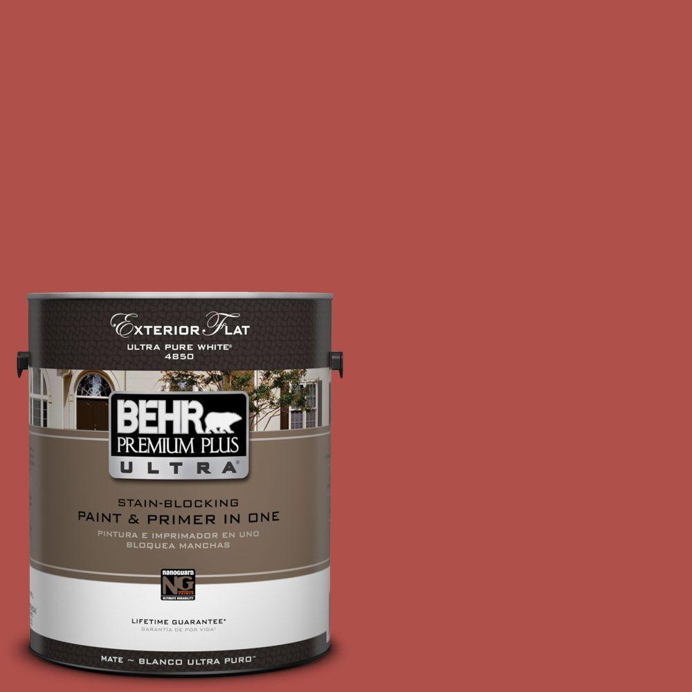 BEHR Premium Plus Ultra 1-Gal. #UL110-8 Carmine Red Flat Exterior Paint