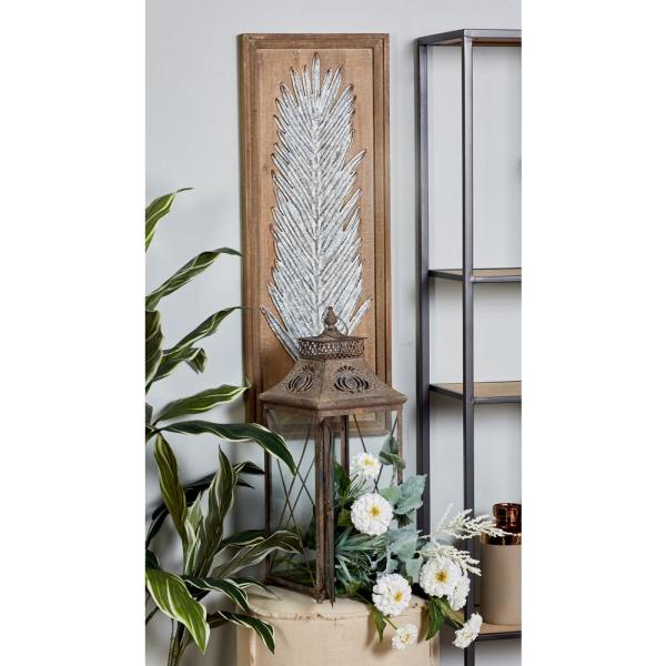 Litton Lane 34 In X 13 In Palm Leaves Framed Wooden Wall Art Set