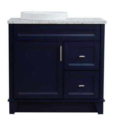 37 in.W x 22 in.D Single Vanity in Blue with Marble Vanity Top in White w/ Left White Round Basin and Door on Left Side