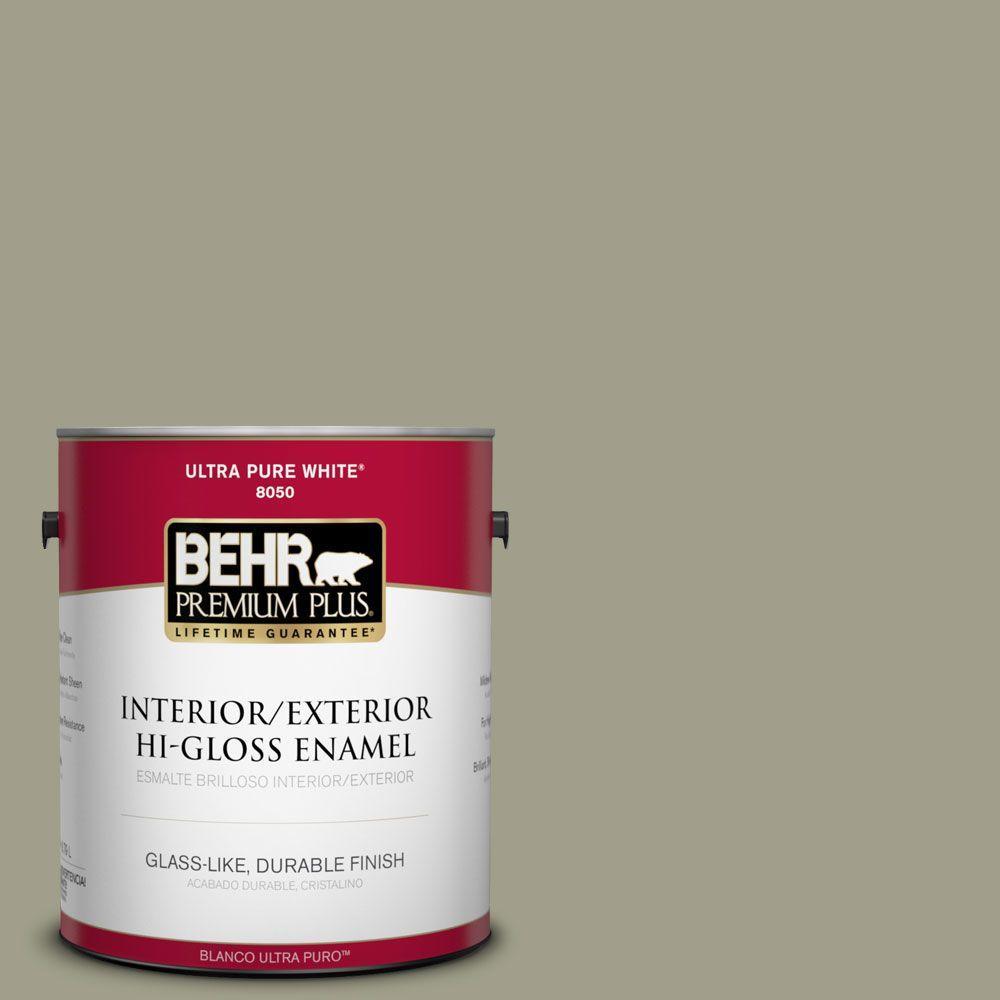 BEHR Premium Plus 1-gal. #BXC-82 Potting Moss Hi-Gloss Enamel Interior/Exterior Paint