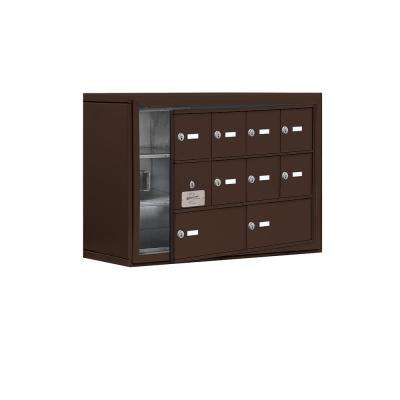 19100 Series 30.5 in. W x 20 in. H x 9.25 in. D 9 Doors Cell Phone Locker Surface Mount Keyed Lock in Bronze