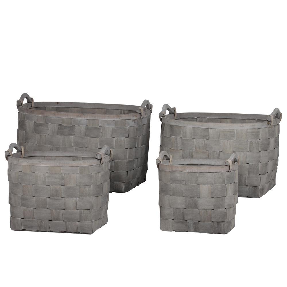 Oval Wood Gray Decorative Basket (Set of 4)