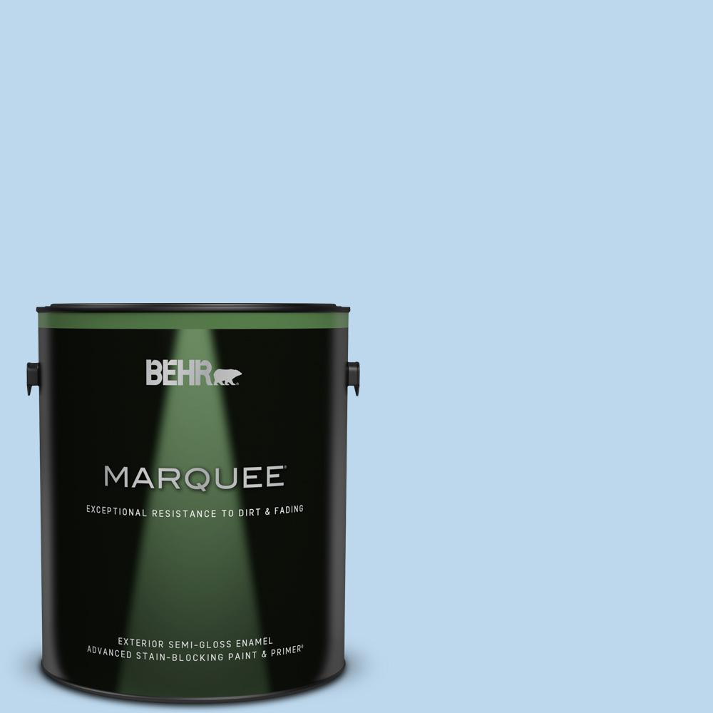 Behr Marquee 1 Gal P520 1 First Rain Semi Gloss Enamel Exterior Paint And Primer In One 545001 The Home Depot