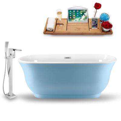 Tub, Faucet, and Tray Set 59 in. Acrylic Flatbottom Non-Whirpool Bathtub in Glossy Blue