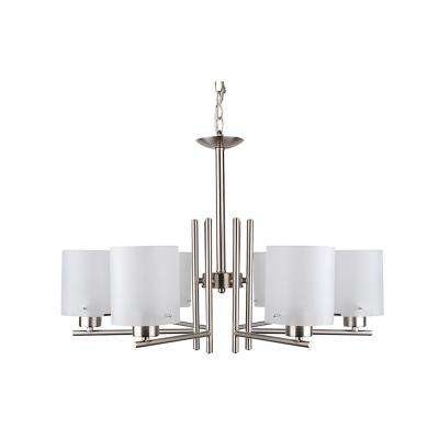 6-Light Satin Steel Chandelier with Etched Acid Wash Glass Shade