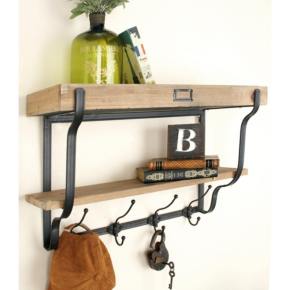 Natural Brown and Black 2-Tier Wall Shelf with Hooks