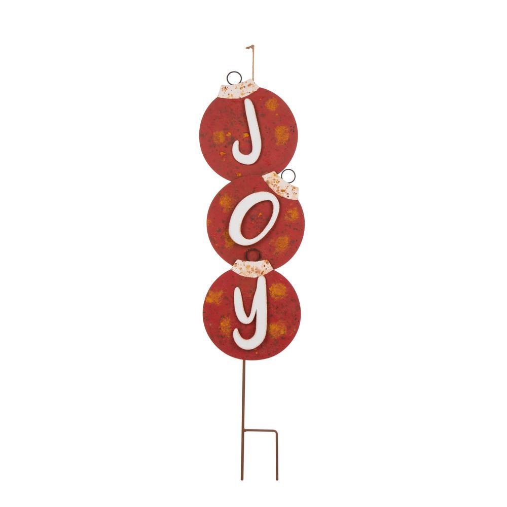 35.28 in. H Metal Rusty Joy in Ornament Yard Stake