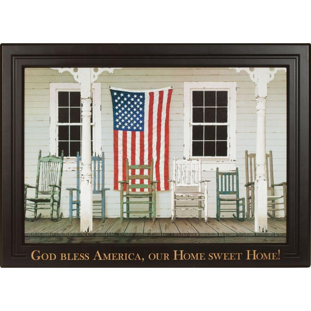 P. Graham Dunn 36.4 in. x 26.4 in. Carved Wood Framed Art Chair Family with Flag